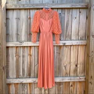 Vintage Lace Puff Sleeve High Neck Maxi Dress 60's